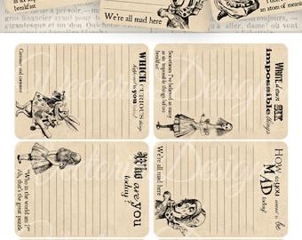 Printable Alice in Wonderland Journal Cards Shabby Chic junk journal embellishments instant download digital Collage Sheet - VD0392