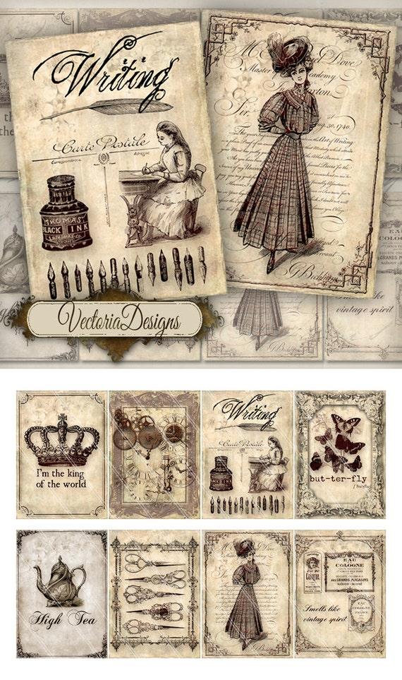 Vintage Memories ATC vintage images digital background instant download printable collage sheet VD0198