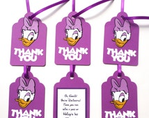 Thank You Favor Tags Personalized Daisy Duck Clubhouse Theme Birthday Party Decoration