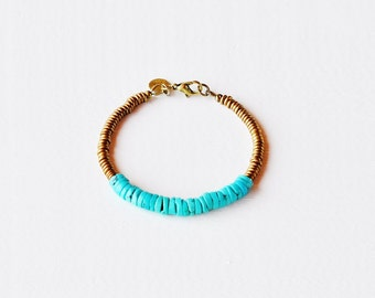 TURQUOISE HEISHI Tribal Brass Bracelet by MOONDROPS /// Gift for her under 50 dollars /// Wrapped and ready for gifting
