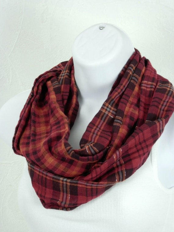 Red Plaid Infinity Scarf Double Sided Cotton Red, Orange and Black Check Handmade Skinny Loop Scarf by Thimbledoodle