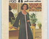 1970s Butterick 3992 Misses' Pullover Caftan Robe House Dress Pattern Vintage Sewing Pattern Bust 34 UNCUT