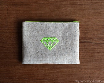 Diamond pouch - Linen pouch - Hand embroidery - Geometric - Neon green