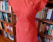 SURFRIDER--Red Hot 1950s Surfrider Hawaiian Cheongsam Wiggle Dress with Gold Hand Painting--S