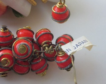 Vintage Japanese Wire Wrapped Bright Orange Red Glass Drops