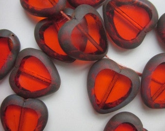 25 RED HOT Ruby Heart  Glass Bead