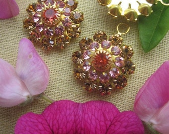 Vintage Swarovski Pink, Orange And Topaz   Crystal Drop