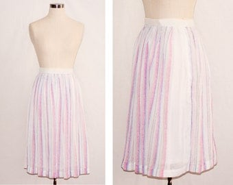 Vintage White, Pink and Blue Stripe Skirt