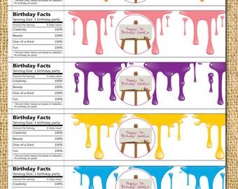 Printable DIY Art Party Water Bottle Labels -  art paint colorful child children water bottle labels