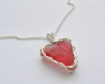 Cranberry Pink Genuine Sea Glass Hand Knitted Fine Silver Wire  Heart Pendant with 18 inch chain Necklace