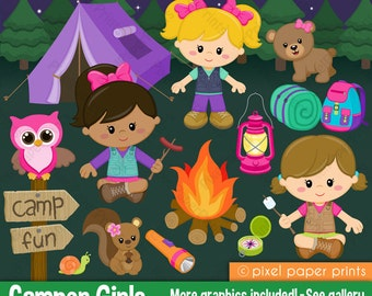 Camper Girls - Clip Art and Digital paper set