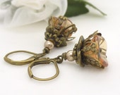 Light brown earrings, champagne and topaz brown flower earrings, czech glass beaded vintage style antique bronze boho flower dangle earrings
