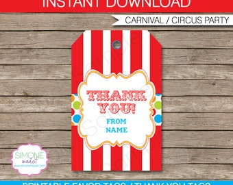 Carnival Favor Tags - Thank You Tags - Birthday Party Favors - INSTANT DOWNLOAD with EDITABLE text template - you personalize at home