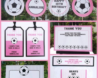 Girls Soccer Party Invitations & Decorations - full Printable Package - INSTANT DOWNLOAD with EDITABLE text - you personalize at home