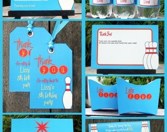 Bowling Party Invitations & Decorations - full Printable Package - INSTANT DOWNLOAD with EDITABLE text - you personalize at home