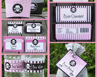 Pirate Party Invitations & Decorations - full Printable Package - Pink Girl - INSTANT DOWNLOAD with EDITABLE text - you personalize at home