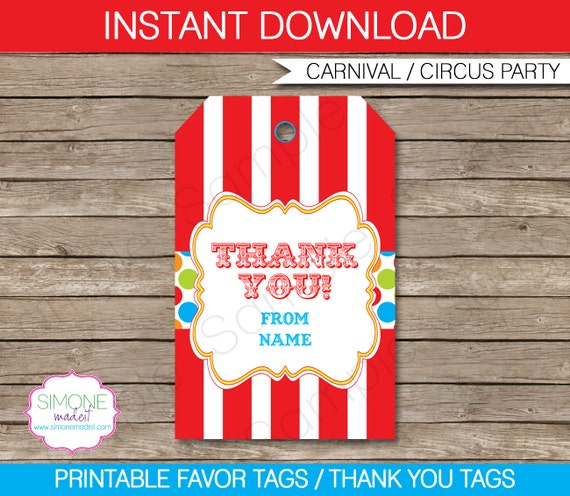 carnival favor tags thank you tags birthday party favors
