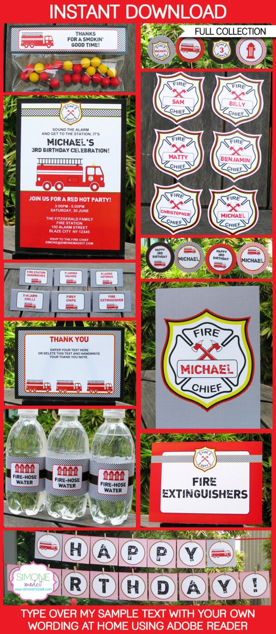 Fireman Party Invitations & Decorations - full Printable Package - INSTANT DOWNLOAD with EDITABLE text - you personalize at home