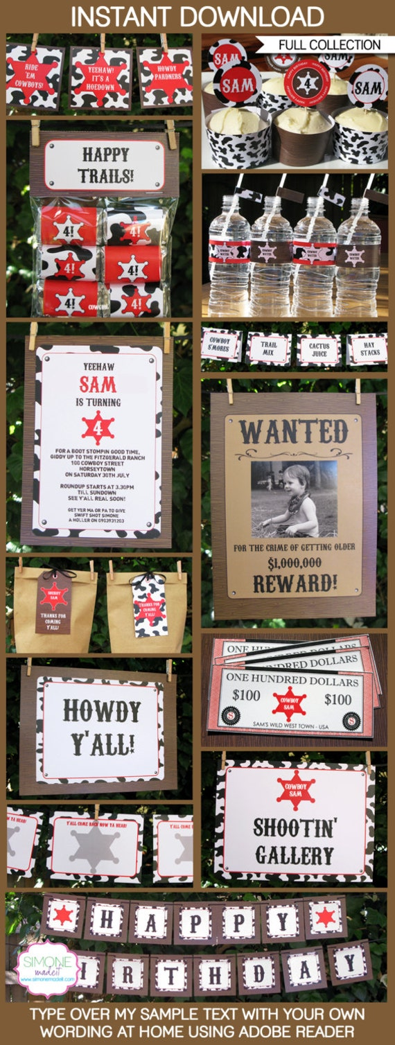 Cowboy Party Invitations & Decorations - full Printable Package - INSTANT DOWNLOAD with EDITABLE text - you personalize at home