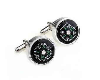 Compass Cufflinks - Groomsmen Gift - Men's Jewelry - Gift Box Included