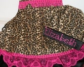 Cheetah Girls Apron and Chef Hat with Personalized Embroidery in Cheetah Print and Hot Pink With Hearts, Lace and Ruffles