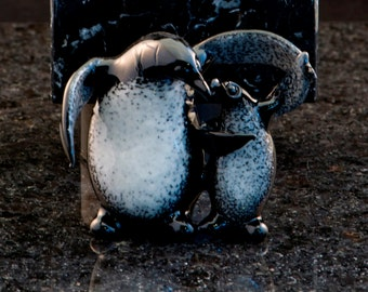 Glass Penguin and Baby Penguin, Lampwork Sculpture