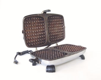 Bersted Waffle Iron Antique Sandwich Grill #361 Small Appliances Chrome Rounded Rectangular 1940s Kitchen Food Photography Prop