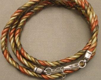 Braided Metallic Leather Wrap Bracelet