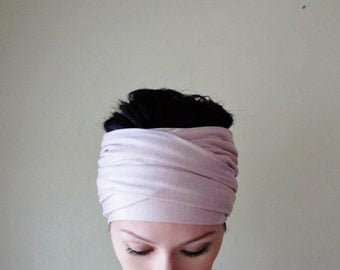 TEA ROSE Head Scarf - Dusty Pink Yoga Headband - Pale Pink Hair wrap - Womens Workout Headband - EcoShag Hair Accessories