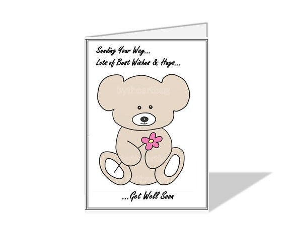 "Teddy Bear ""Get Well Soon"" Printable Digital Card Print Your Own Hand Designed Digitally Drawn With Envelope Template Blank from Inside"