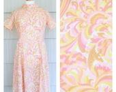 1960's Pink Orange Yellow Mod Shift Dress L