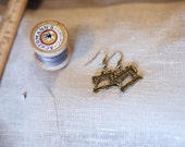 Singer Earrings Sewing machine Cute Gift Antique brass Christmas