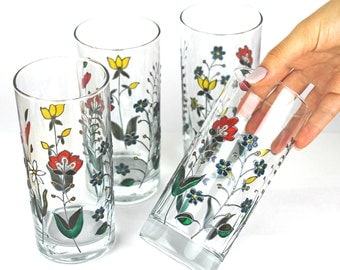 Water Glasses, Floral Drinking Glasses, Tumblers with Colorful Flowers, Wedding Glasses,  Embroidery design, Hand painted, Set of 2