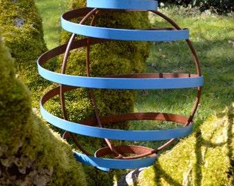 "Metal Garden Art, Dazzling Blue Garden Sphere Sculpture, 18"""