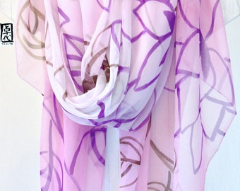Bridal Chiffon Shawl, Oversized Scarf, ETSY, Painted silk scarves, Purple Wedding Wrap, Pink, Purple Ombre Japanese Floral, 43x72 inch