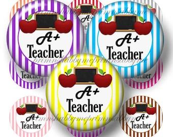 Teacher, Bottle Cap Images, Digital Collage Sheet, A+ Teacher, Bottle Caps, Printable, Instant Download, Colorful Stripes