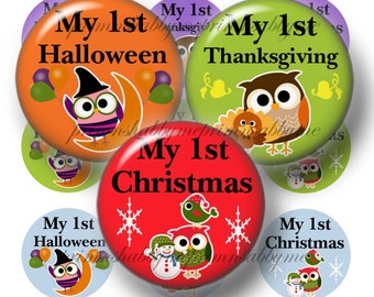First Halloween, First Thanksgiving, First Christmas, Digital Collage Sheets, Owl Bottle Cap Images, 1 Inch Circles, Crafts, Bows, Ornaments