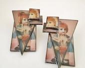 Vtg Handmade Artisan Baby Doll Earrings