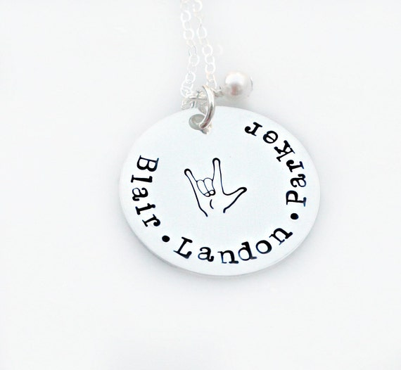 I Love You Necklace- Hand Stamped Necklace - ASL Necklace - Personalized Necklace