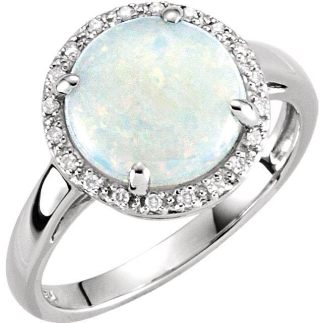 Opal and Diamond Ring Opal Engagement Ring by RighteousRecycling