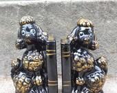 Black and Gold Poodle Bookend Set Ceramic Glam Decor