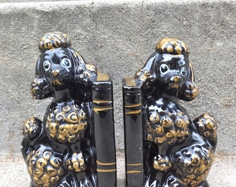 Black and Gold Poodle Bookend Set Ceramic Glam Decor