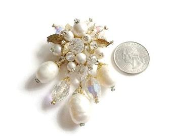Vintage Rhinestone Vendome Brooch Baroque Pearl Aurora Borealis Crystal Pin Bridal