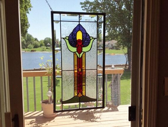 Biseaut de style victorien panneau fen tre vitrail violet for Panneau de fenetre