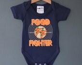 Food Fighter! Baby One Piece (baby onesie). Alternative baby gift for rock baby. Navy blue babyvest.