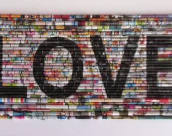 "Modern wall art, Typography, Wedding, Anniversary, Rolled paper art, upcycled magazines, text art, mixed media fine art, ""Love, vol. 1"""