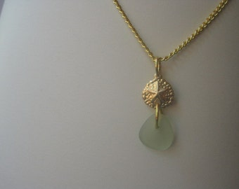 Sea Foam Green Sea Glass and 14k Gold Sand Dollar Necklace