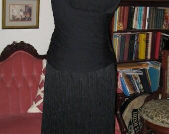 BLACK FRINGED COCKTAIL Dress, 1960's Style Eveningwear