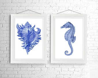 Blue Seahorse Conch Shell Large Vintage Style Nautical Art Print Set of 2 Natural History Beach House