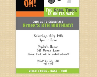 Video Game Invitation . Printable